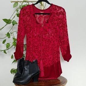 Sundance Velvet & Sheer Floral Top Size XS